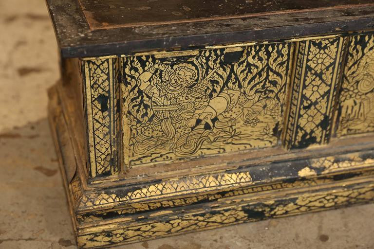 19th Century Thai Parcel-Gilt Buddhist Scroll Processional Box