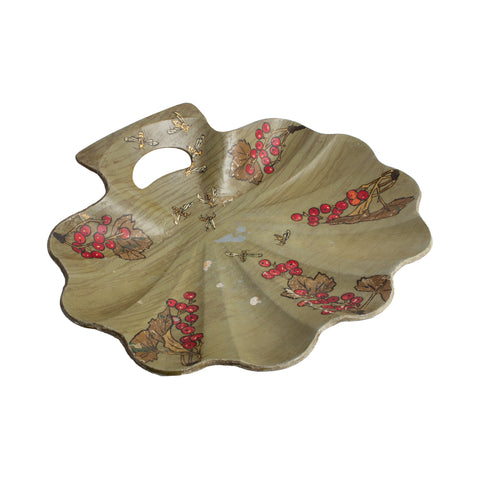 Vintage French Chinoiserie Shell Tray with Bee Detail