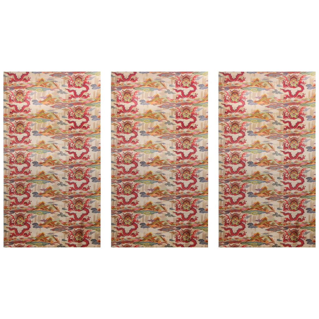 Set of Three Midcentury Colorful Chinoiserie Fabric Panels Found in France