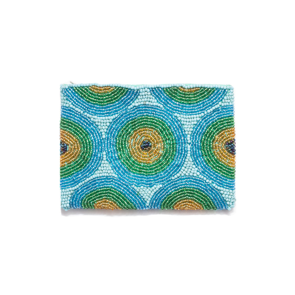 Beaded Coin Purse from Bali - Peacock Blue