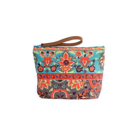 Colorful Thai Neon Floral Print Wristlet Clutch