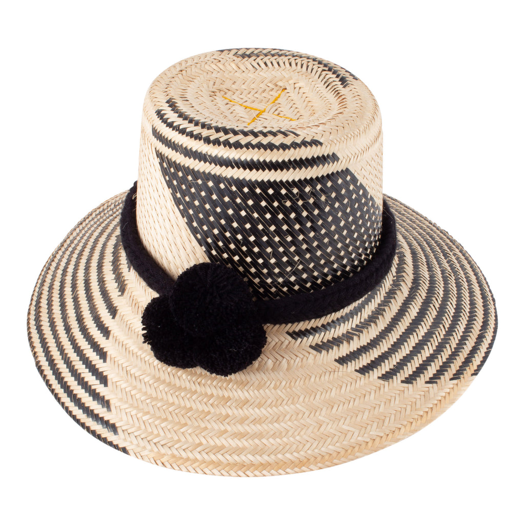 Handmade Colombian Straw Hat with Removable Pompom Hat Band
