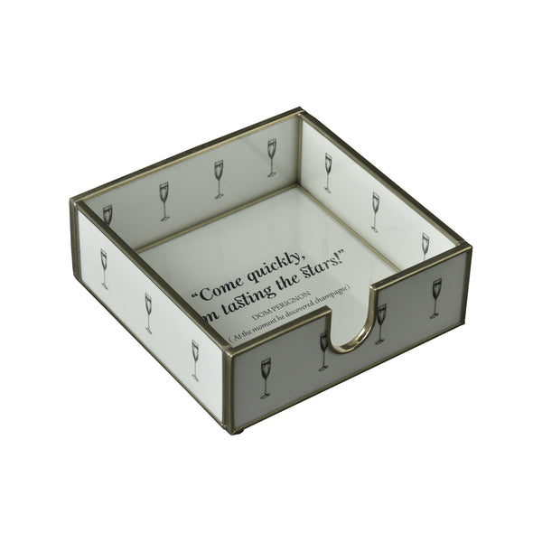 Glass & Nickel Dom Perignon Quote Cocktail Napkin Tray