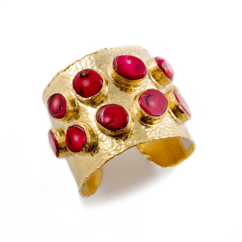 Red Coral & Brass Cuff from Istanbul