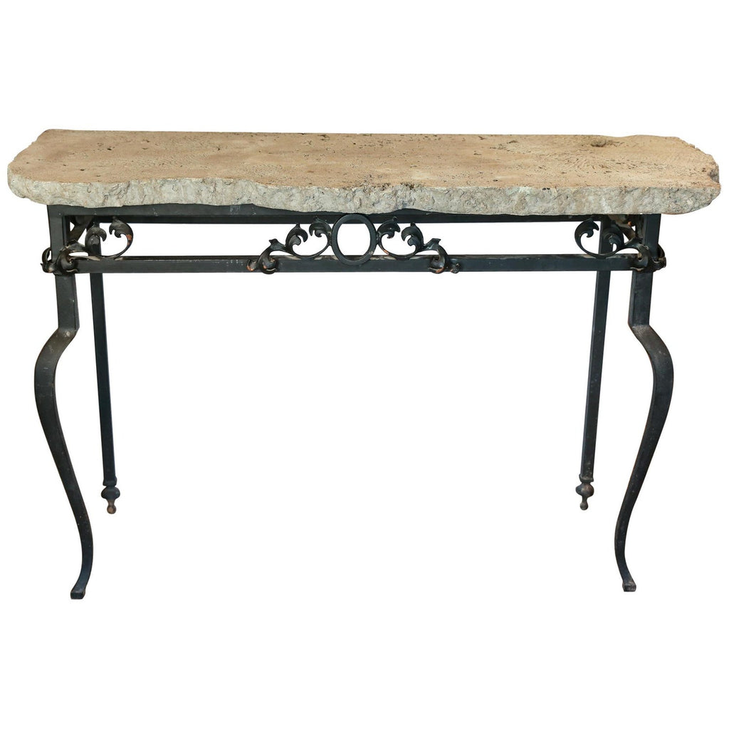 Vintage Iron Console Table with Cast Stone Faux Coral Top