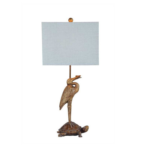 Crane & Tortoise Lamp with Pale Blue Linen Shade