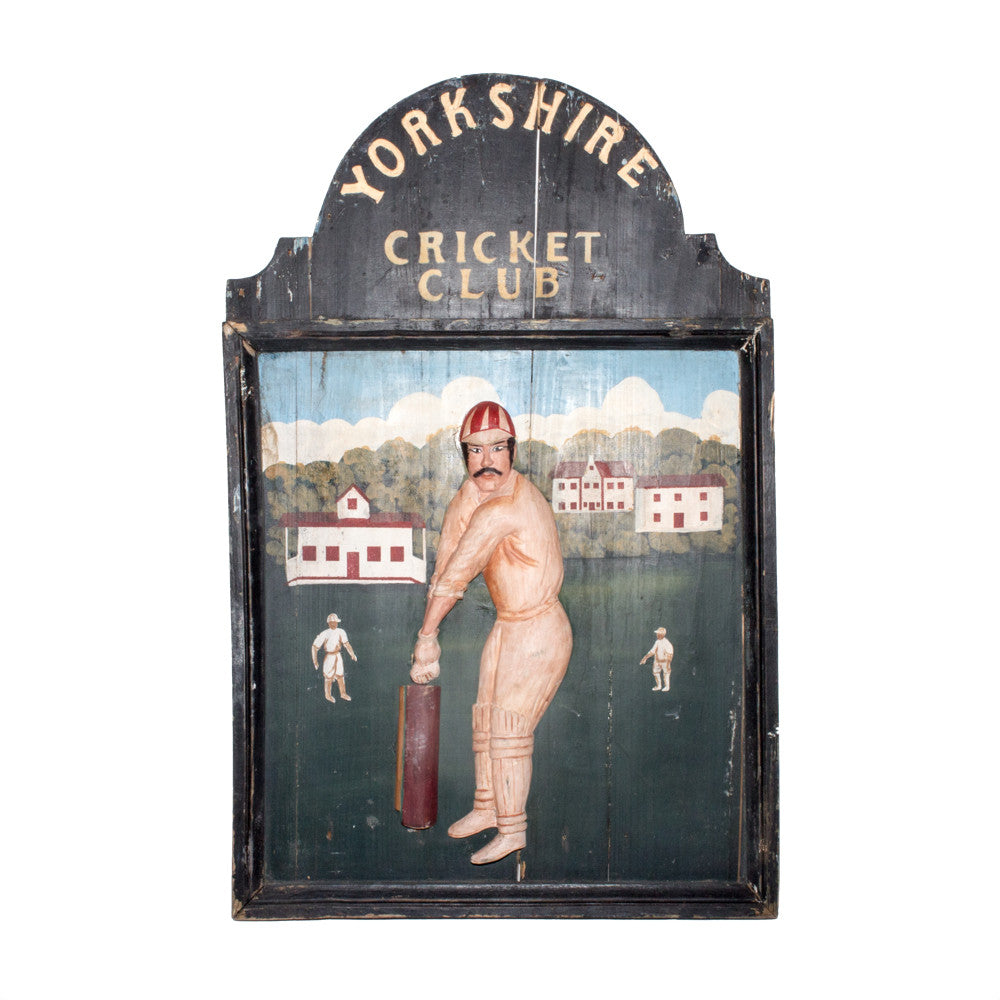 Antique English Wood & Hand Painted Yorkshire Cricket Club Sign