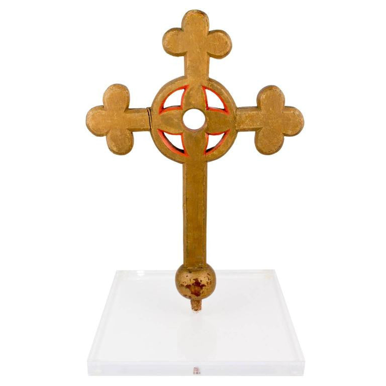 Antique French Painted Processional Wood Cross from a Convent in France