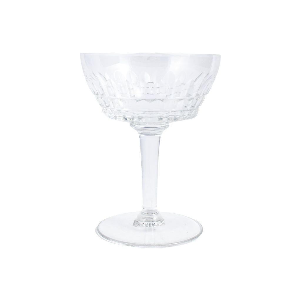 Set of 10 Antique French Cut Crystal Champagne Coupes