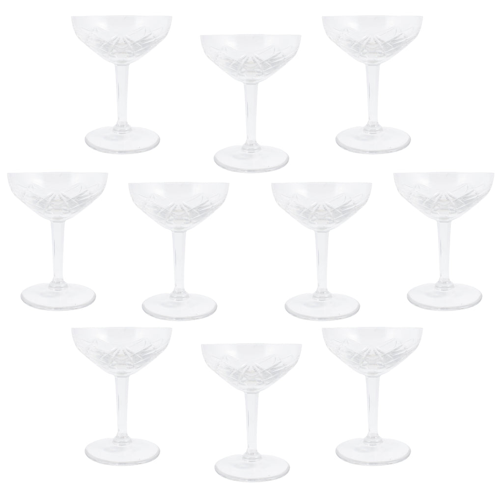 Antique French Cut Crystal Champagne Coupes | Set of 10