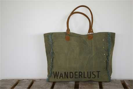Canvas Wanderlust Tote with Leather Straps