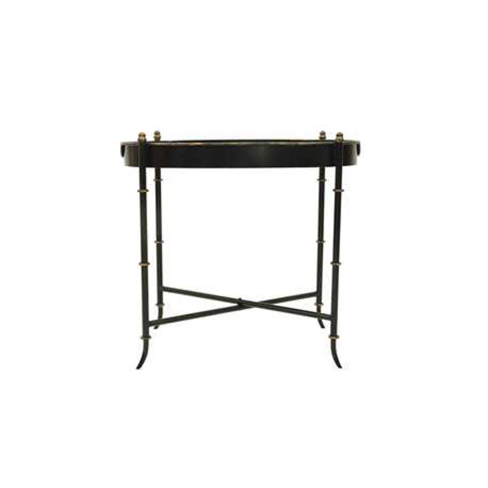 Black & Antique Gold Finish Folding Tray Table