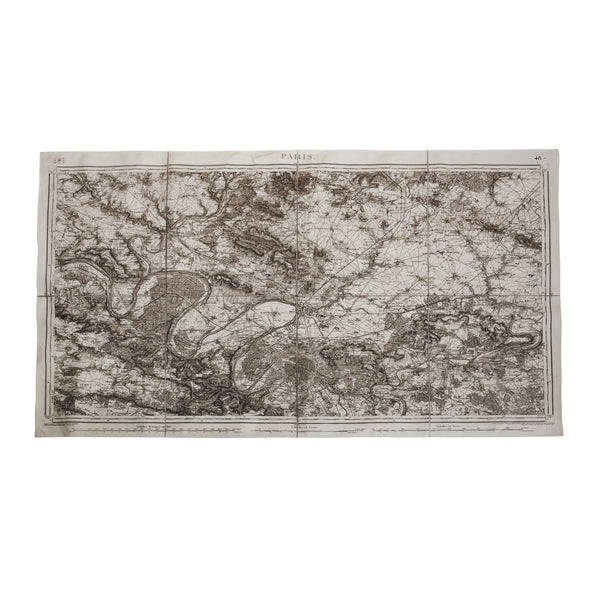 Dransfield & Ross Canvas of Napolean's Paris Map