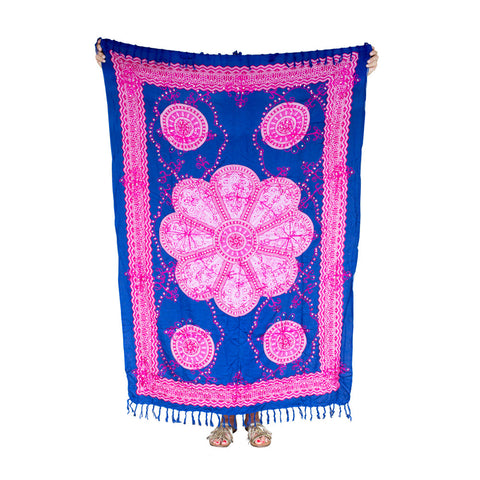 Mexican Sequined Sarong in Navy, Fuchsia, Pink & White