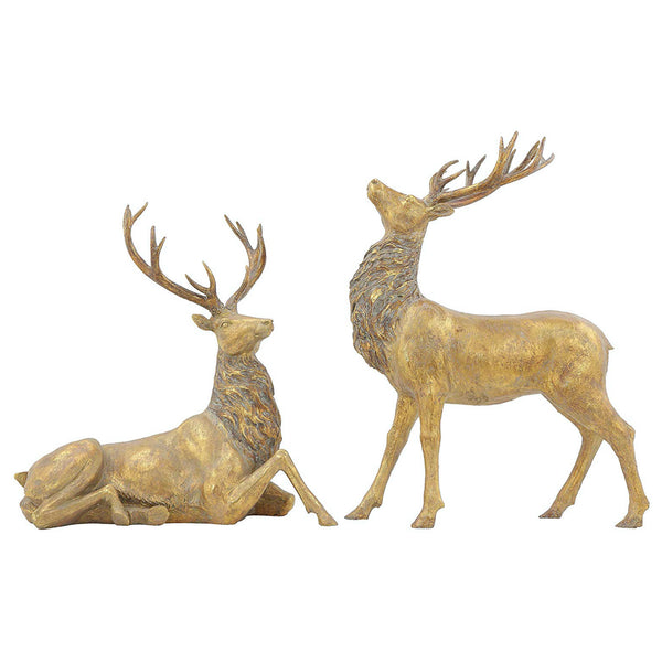 Deer Figures in Gold Shie mmer Finish