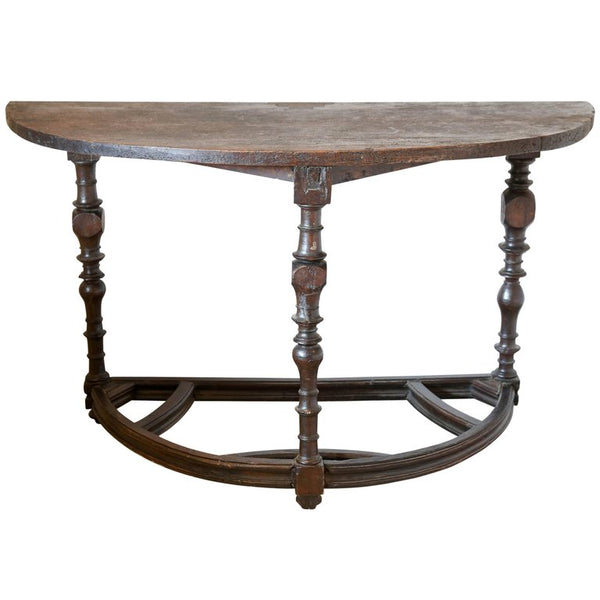 18th Century Tuscan Italian Demilune Console Table