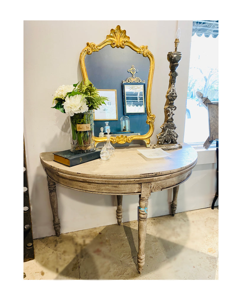 Antique French Gilded Louis XV Style Vanity Mirror in Mint Green