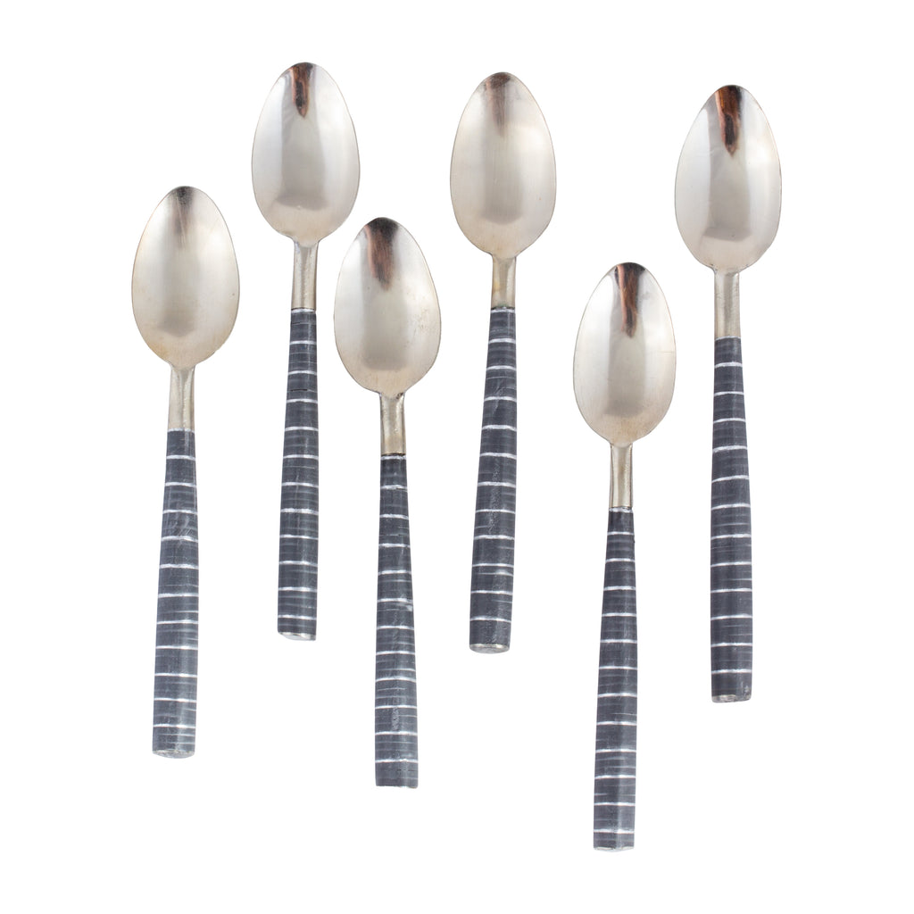 Moroccan Striped Demitasse Spoons | Set of 6 - Two Colors