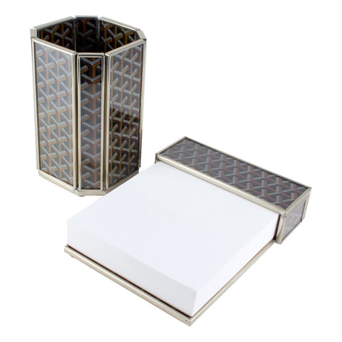 Goyard Inspired Glass & Polished Nickel Desk Set