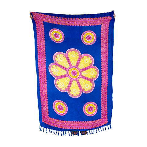 Mexican Sequined Sarong in Blue, Yellow & Pink