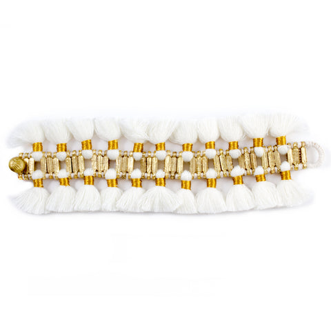 Double Charming Bracelet in White - Handmade in Egypt