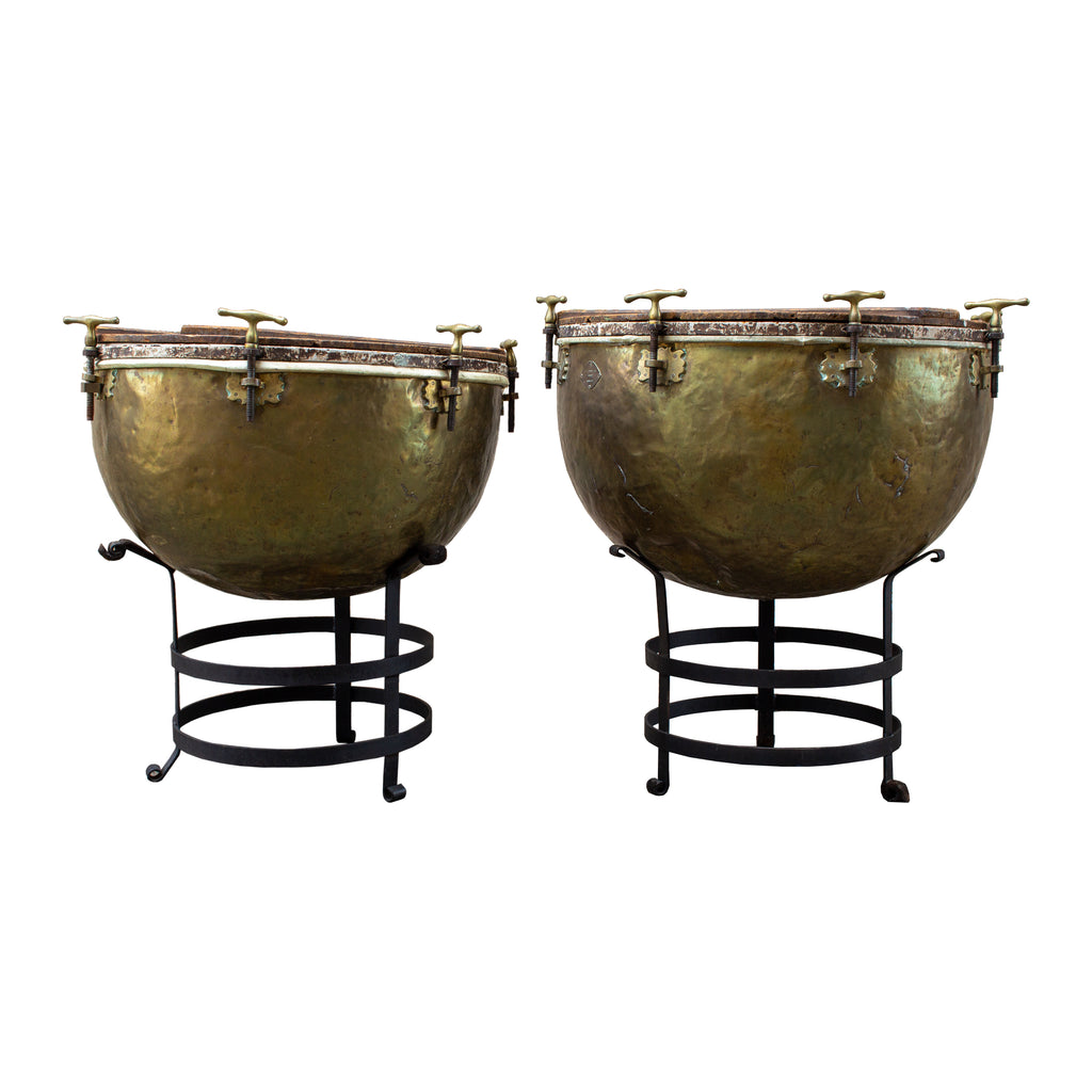 Pair of F. Van Cauwelaert 19th Century Belgian Timpani Drums and End Tables