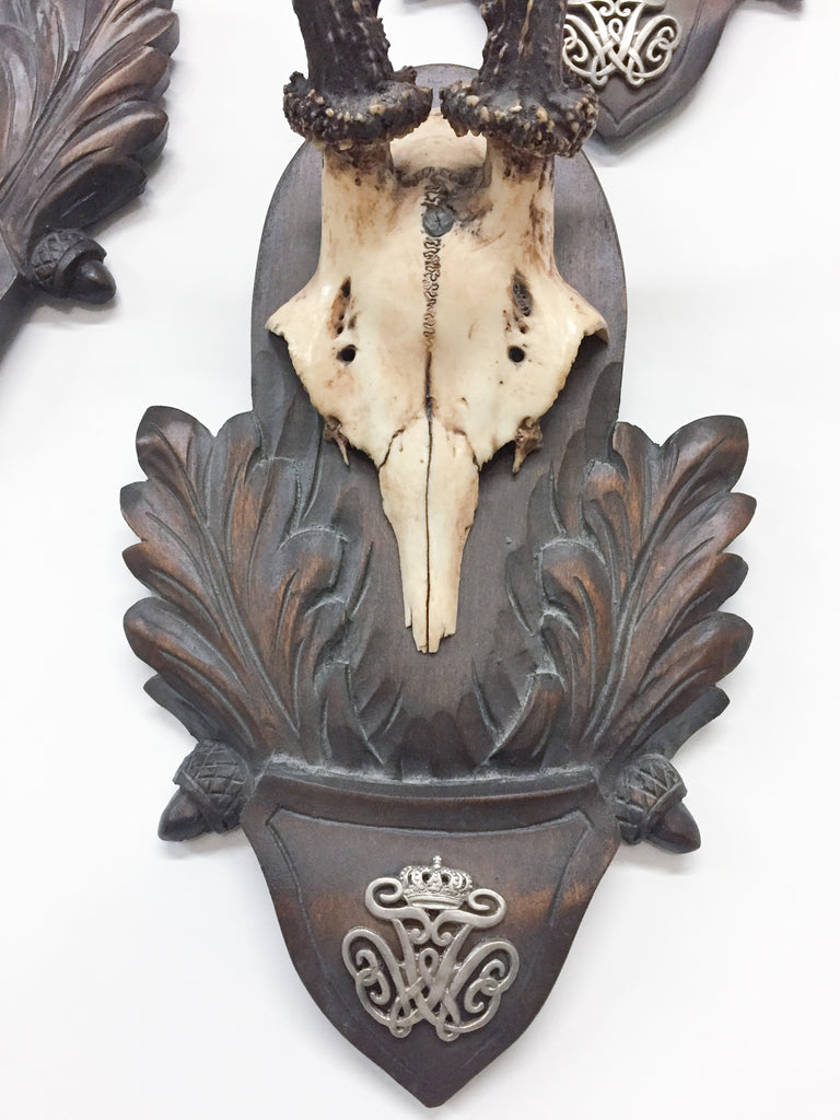 19th c Roe Deer Trophies on Black Forest Plaques from Kaiser Wilhelm I