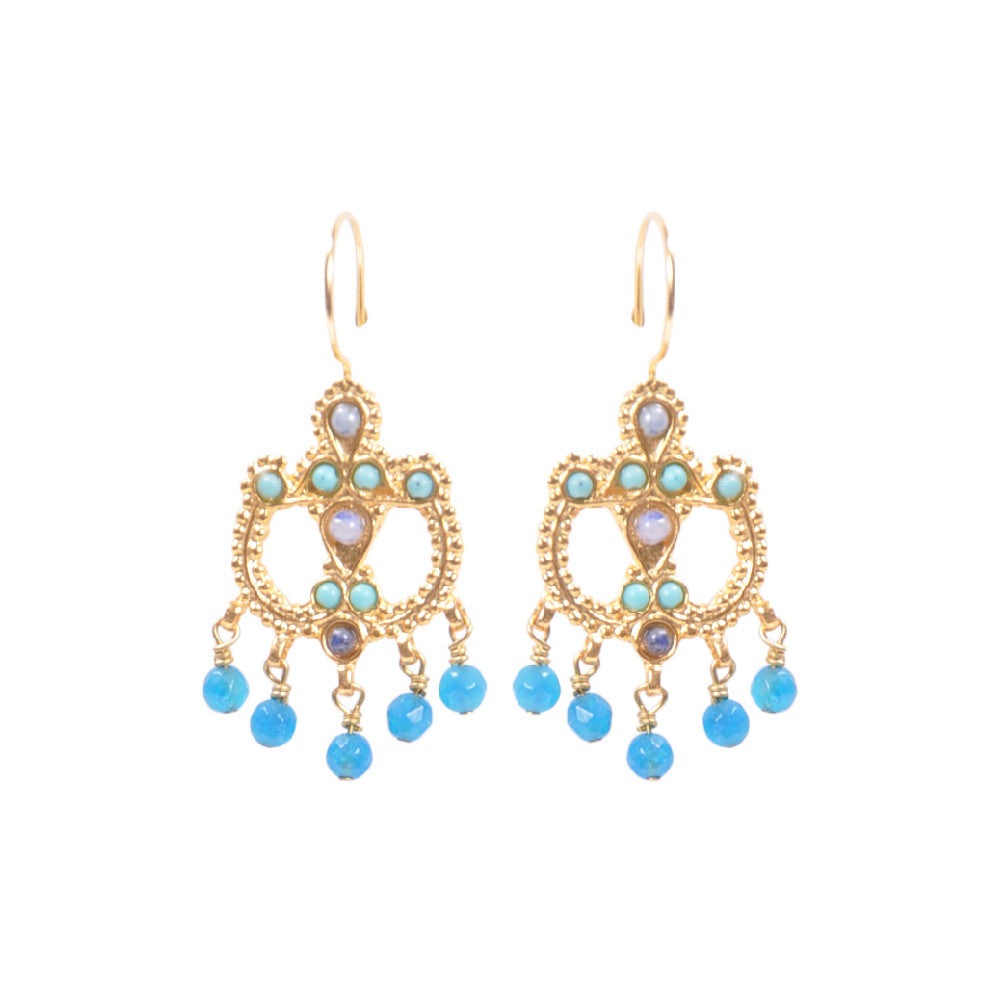 Turkish Delights Earrings: Smokey Stone and Turquoise Chandelier Earrings