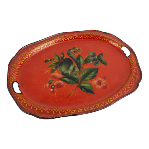 Vintage Russian Hand-Painted Enamel Metal Tray found in France