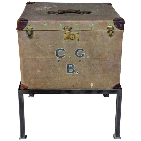 Antique English Luggage Trunk Side Table with Iron Base