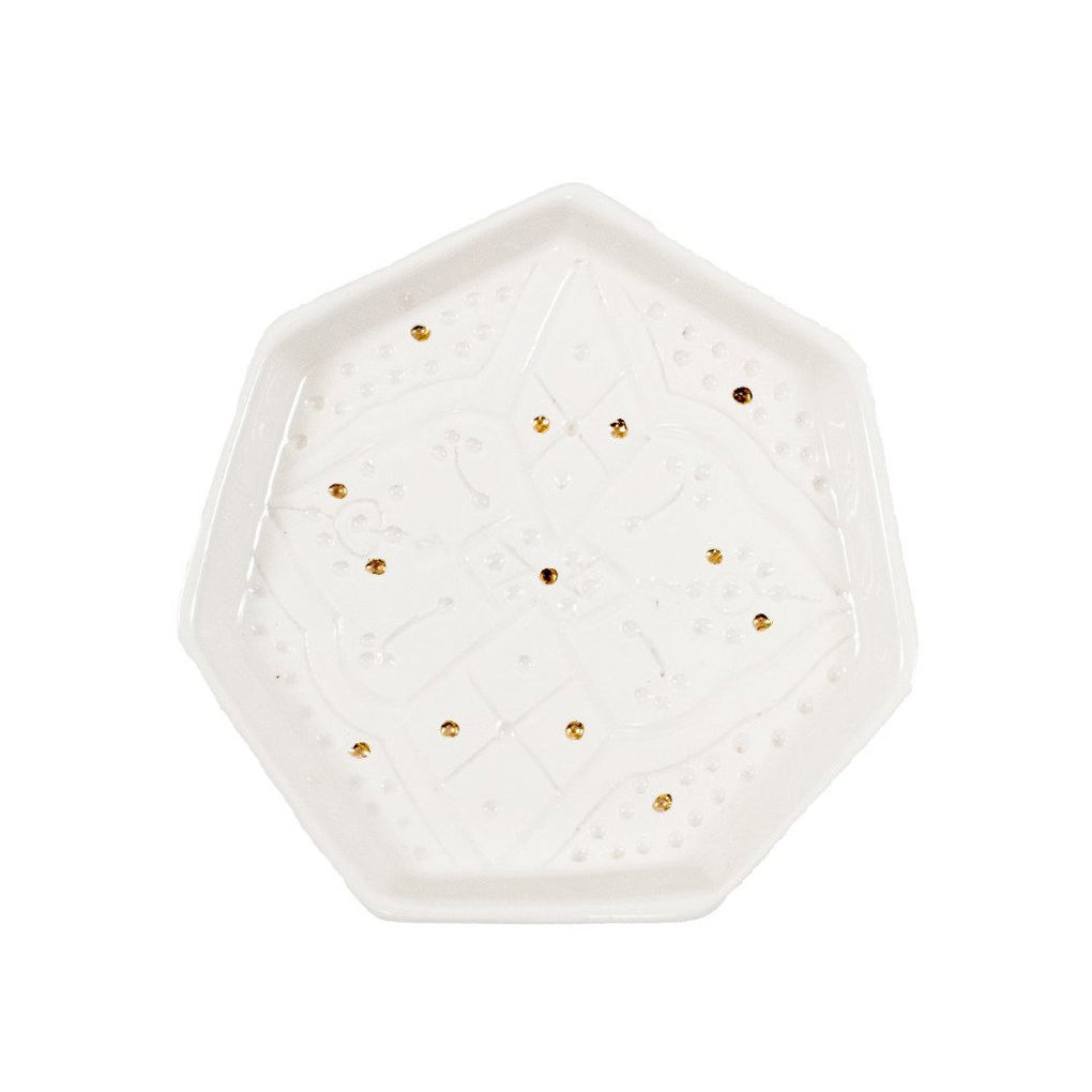 Handmade Moroccan Ceramic Hex Tray in Engraved White & Gold