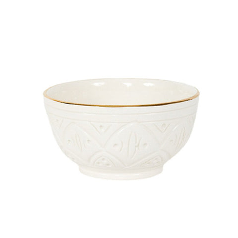 Handmade Moroccan Ceramic Bowl in Engraved White & Gold