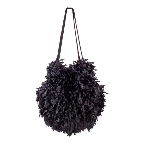 Black Cambodian Silk Organza Feather Bola Bag by Eric Raisina Haute Texture