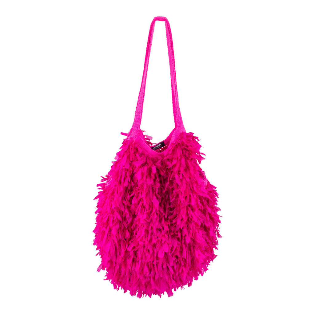 Fuchsia Cambodian Silk Organza Feather Bola Bag by Eric Raisina Haute Texture