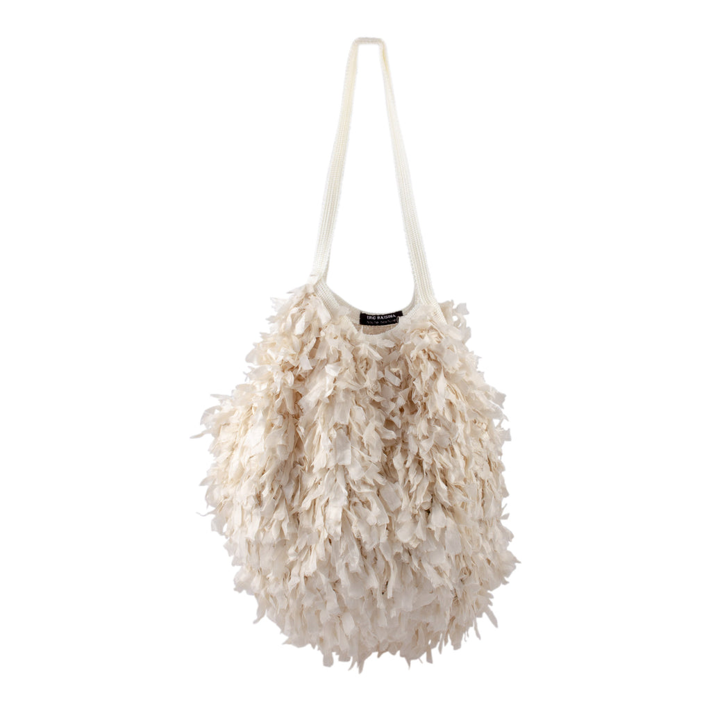 Ivory Cambodian Silk Organza Feather Bola Bag by Eric Raisina Haute Texture