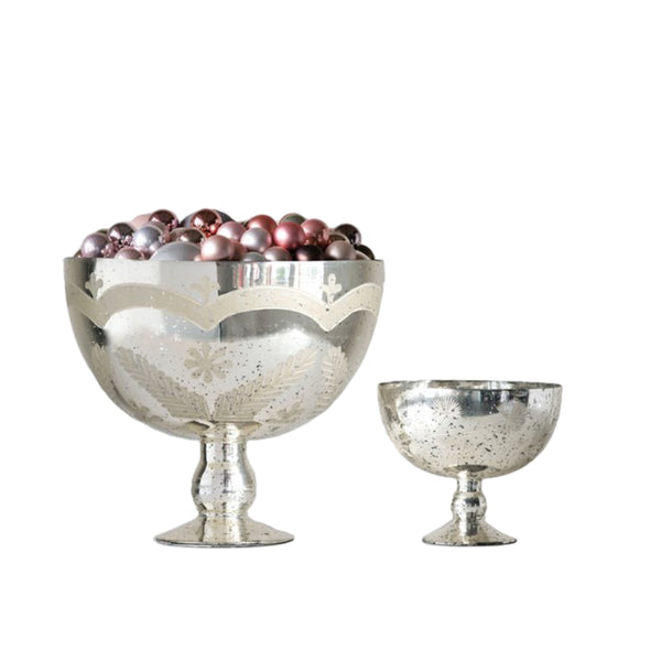 Etched Mercury Glass Footed Bowls | Two Sizes