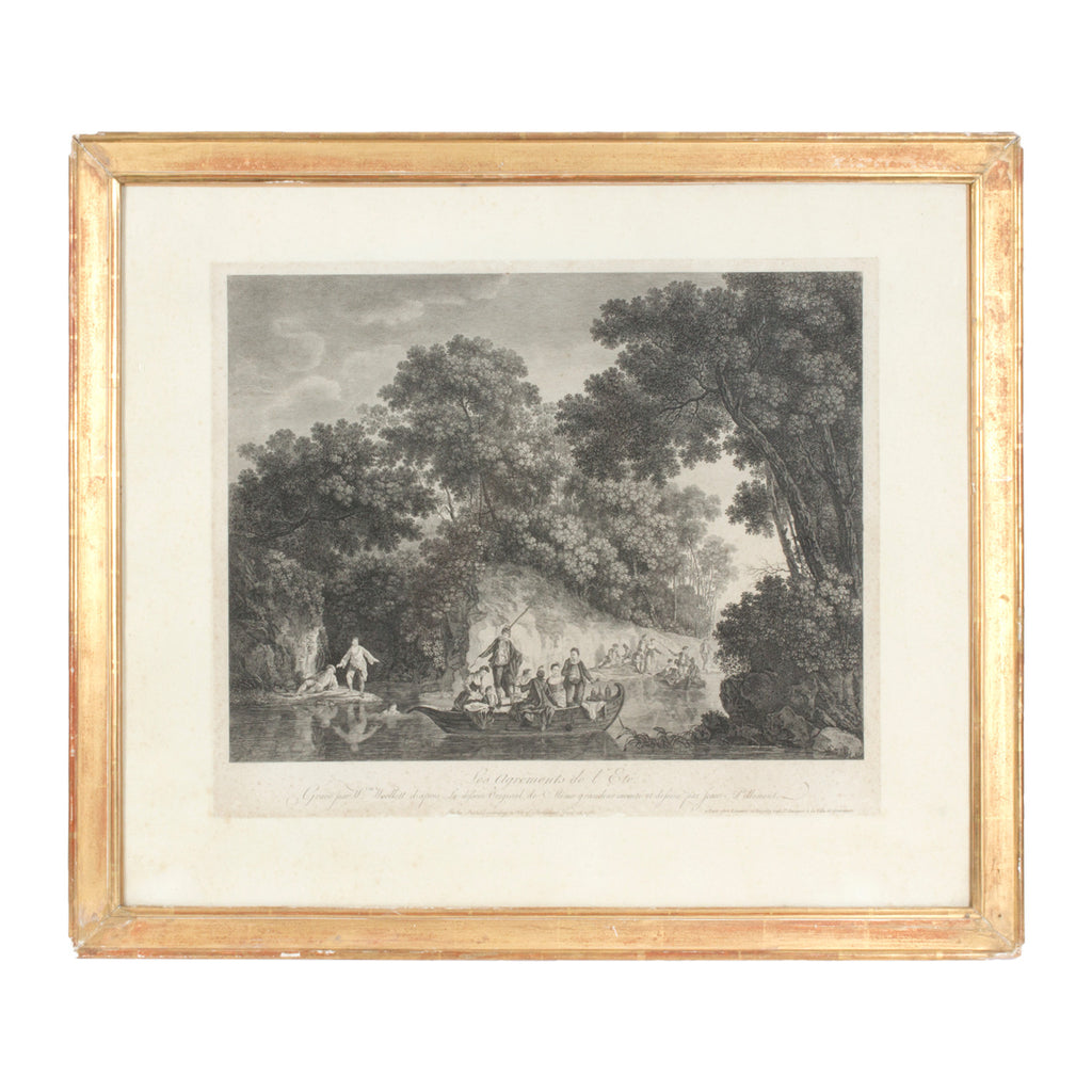 Antique French Etching ca. 1900 in Original Frame