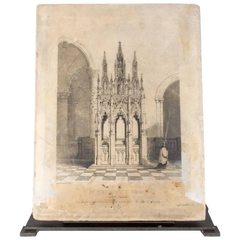 Original 19th Century French Etching Stone of the Tomb of Pope Innocent VI