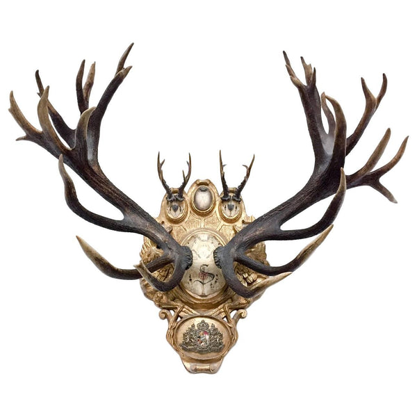 19th c. European Red Stag & Roe Trophies on Plaque with Emblem of St. Sepulcre