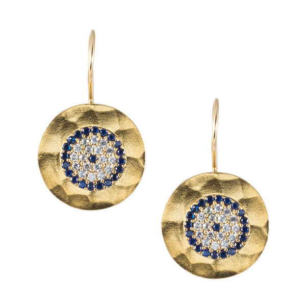 Turkish Delights Earrings: Evil Eye Disc Drops