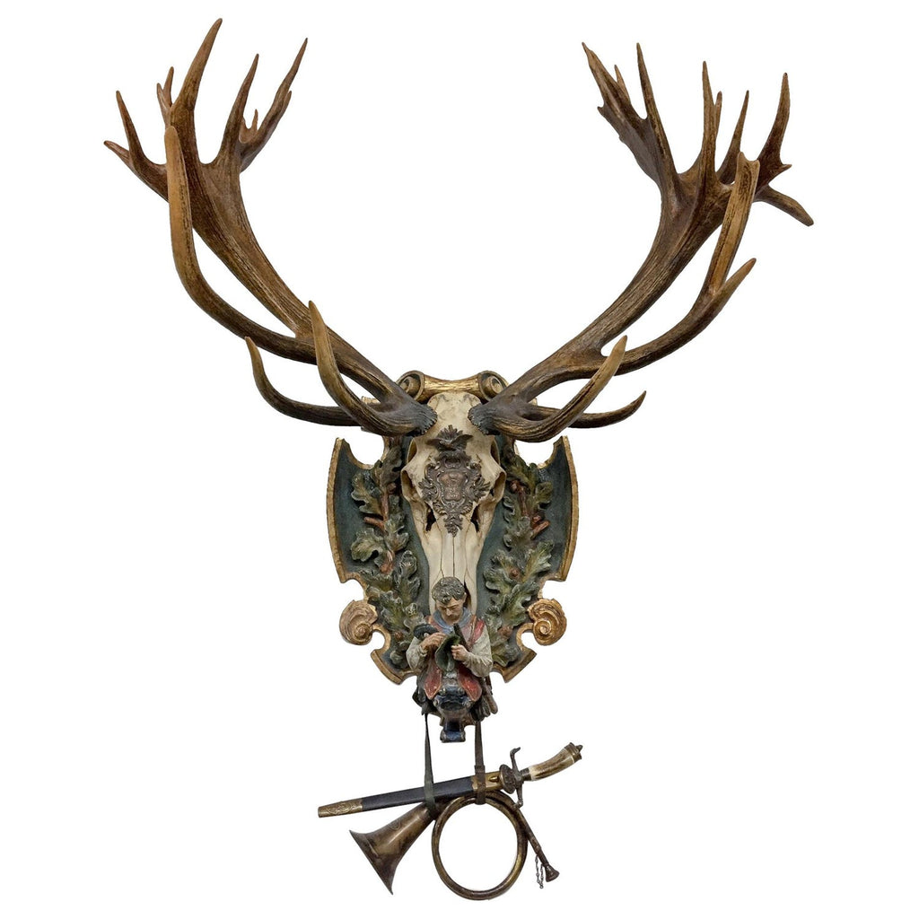 German Red Stag Trophy on Hand Carved Polychrome Black Forest Plaque