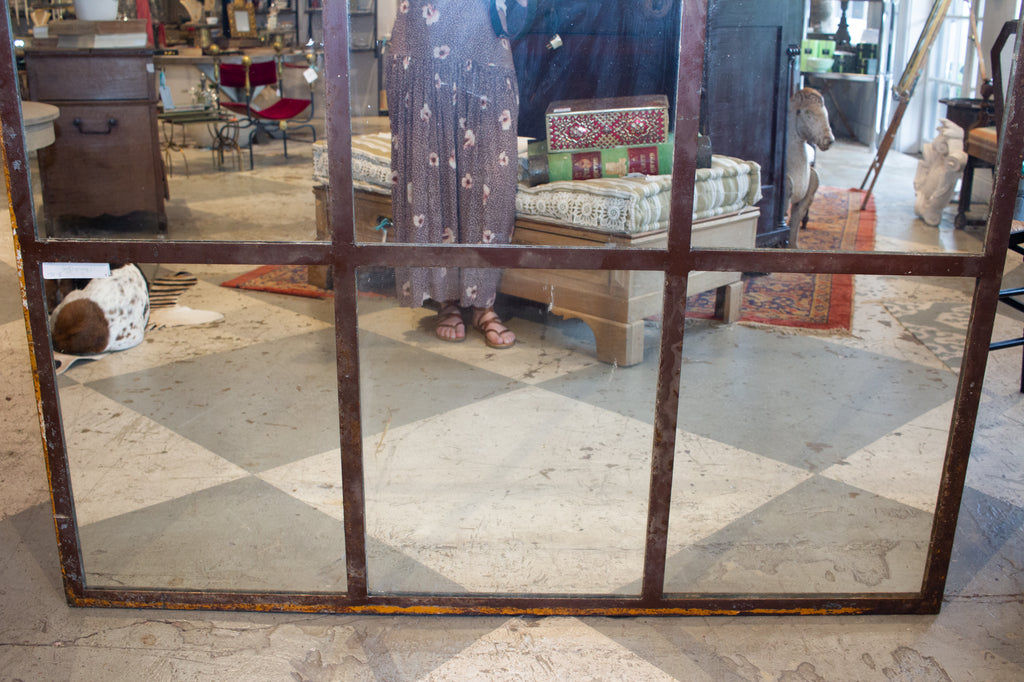 Oversized Vintage 1930s French Industrial Mirrors Made from Converted Windows