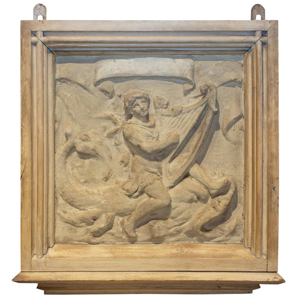 Antique Belgian Plaster Panel with Mythological Imagery