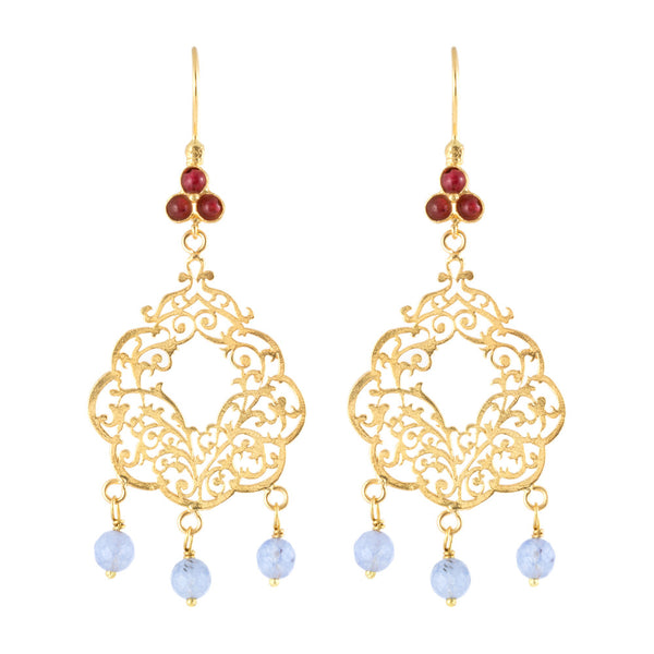 Turkish Delights Earrings: Filigree & Lavender Stone Danglers
