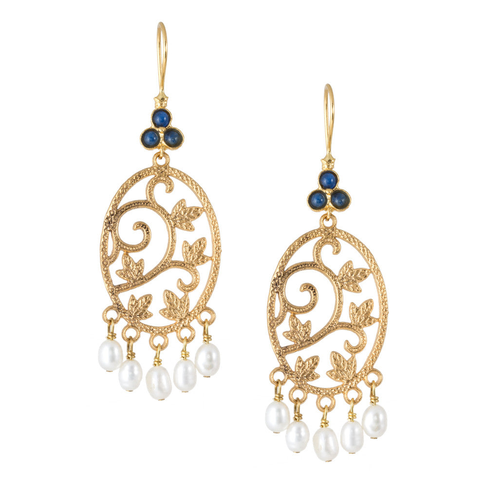 Turkish Delights Earrings: Filigree & Pearl Danglers