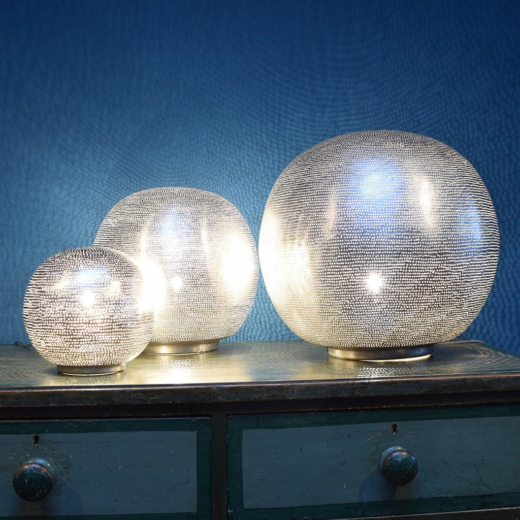 Egyptian Pierced Nickel Globe Table Lamp (Three Sizes Available)