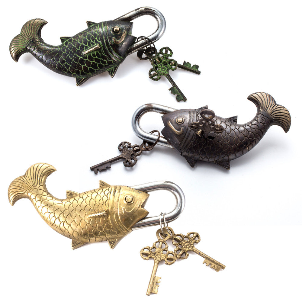 Oversized Brass Fish Locks with Keys (Three Colors)