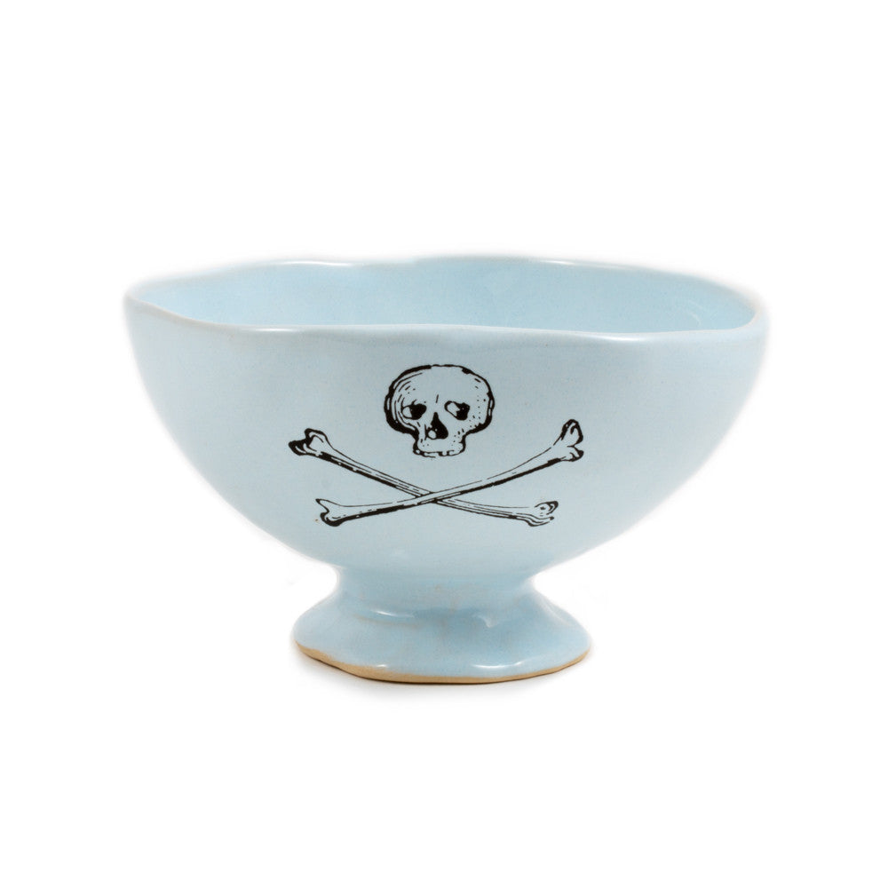 Kuhn Keramik Small Footed Tea Bowl with Skull & Crossbones Design