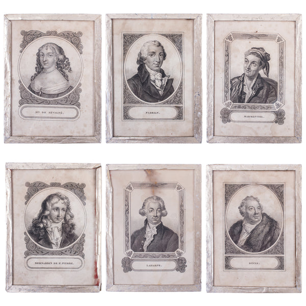 Set of Six Framed Portrait Etchings of 17th Century French Writers