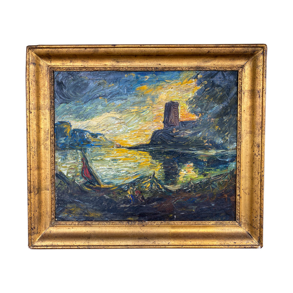 Antique French Impressionist Painting in Gilt Frame